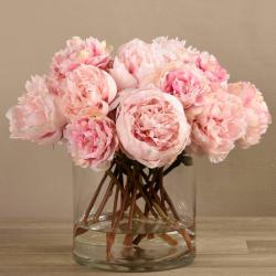 Pink Peony Arrangement in Glass Vase