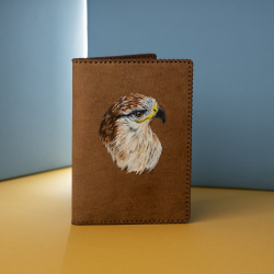 Passport Case with Hand-Painted Falcon