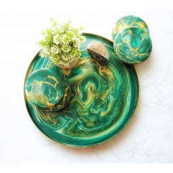 Emerald Resin Metal Tray and Coasters