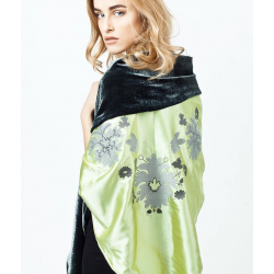 2-Sides Green Silk and Velour Scarves with Embroidery