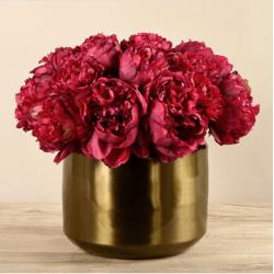 Red Peony In Copper Vase