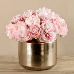 Pink Peony In Silver Vase