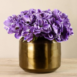 Light Purple Anemone In Copper Vase