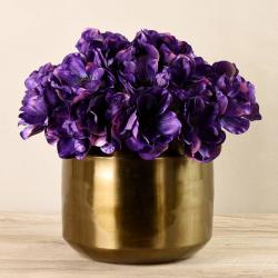 Purple Anemone In Copper Vase