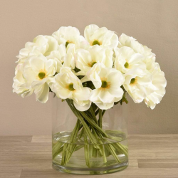 White Artificial Anemone in Glass Vase