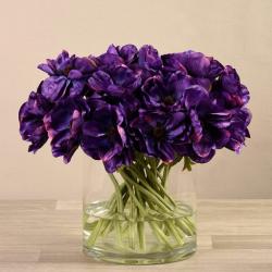 Dark Purple Artificial Anemone in Glass Vase