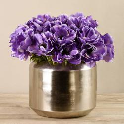 Light Purple Anemone In Silver Vase