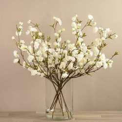 White Artificial Cherry Blossom in Glass Vase
