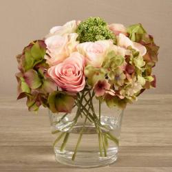 Mixed Flower Arrangement in Round Glass Vase
