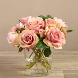 Pink Rose Arrangement in Round Glass Vase