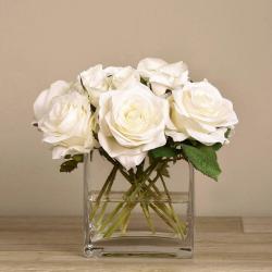 White Rose Arrangement in Square Glass Vase