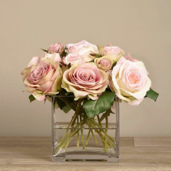 Pink Rose Arrangement in Square Glass Vase