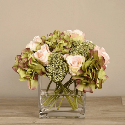 Mixed Flower Arrangement in Square Glass Vase