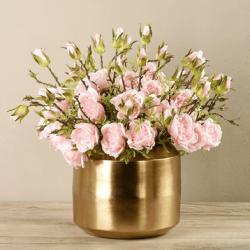 Pink Rose Arrangement In Gold Vase