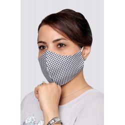 Navy Squares - 100% Cotton Washable Mask
