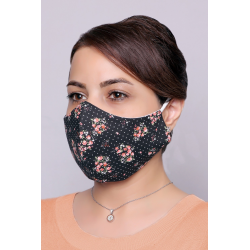Black With Pink Flowers - 100% Cotton Washable Mask