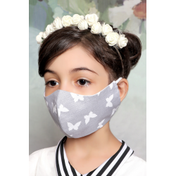 Gray with White Butterfly - 100% Cotton Washable Mask