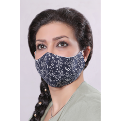 Navy with White Flowers - 100% Cotton Washable Mask