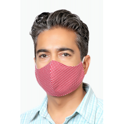 Red with White Circles - 100% Cotton Washable Mask
