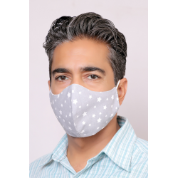 Gray Starry - 100% Cotton Washable Mask