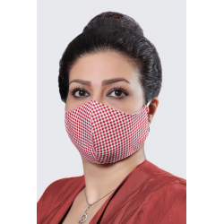 Red Squares - 100% Cotton Washable Mask