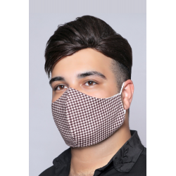Brown Squares - 100% Cotton Washable Mask