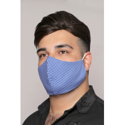 Dark Blue with White Circles - 100% Cotton Washable Mask