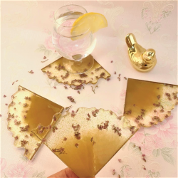 Charming Golden Coasters Set of 4
