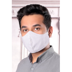 Light Gray Squares - 100% Cotton Washable Mask