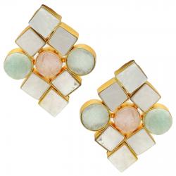 Amazonite, Mother of Pearl, Raw Rose Quartz Earrings