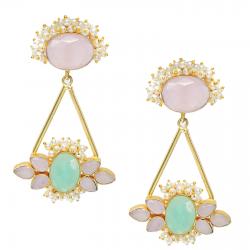 Aqua, Pearl, Rose Quartz Earrings