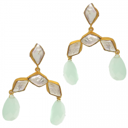 Chalcedony, Baroque Pearl Earrings