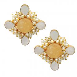 Citrine, Pearl, Mother of Pearl Earrings