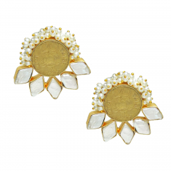 Coin, Pearl, Baroque Pearl Earrings