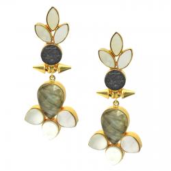 Labradorite, Obsidian, Mother of Pearl Earrings