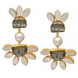 Labradorite, Pearl, Mother of Pearl Earrings