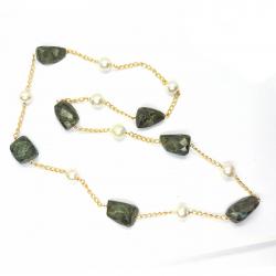 Labradorite, Pearl Necklace