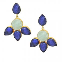 Lapis, Amazonite Earrings