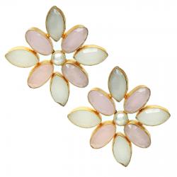 Moonstone, Pearl, Rose Quartz Earrings