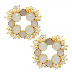 Moonstone, Rose Quartz, Pearl Earrings