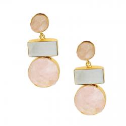 Raw Rose Quartz, Mother of Pearl Earrings