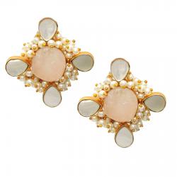Raw Rose Quartz, Pearl , Mother of Pearl Earrings