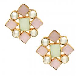 Rose Quartz, Chalcedony, Pearl Earrings