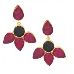 Ruby, Obsidian Earrings