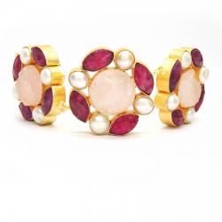 Ruby, Raw Rose Quartz, Pearl Necklace