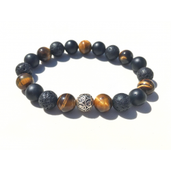 The Peaceful Warrior III 10mm AA Tiger Eye, Bian & Lava