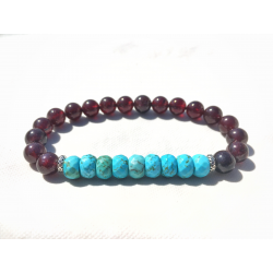 Vitalis 8mm A faceted turquoise, AAA garnet & 925 sterling silver