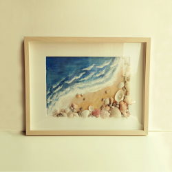 Beach waves and sea shells in a frame (Medium)