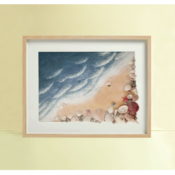 Beach waves and sea shells in a frame (Large)