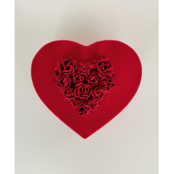 Red Velvet Heart Shaped Box with Red Roses (Large)